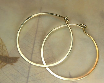 Simple Hammered Hoop Earrings in your choice of NuGold Brass - Copper or Sterling Silver Copper Jewelry