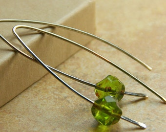 Simple Sterling Silver Earrings with Floating Czech Appletini Bead - Minimal Design - Beaded Dangles