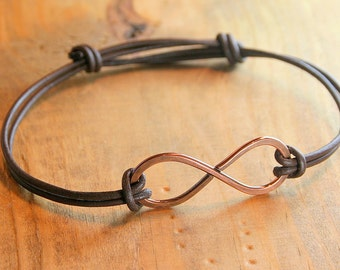 Handcrafted, Hammered Copper and Leather Infinity Bracelet, Adjustable and Unisex Copper Jewelry
