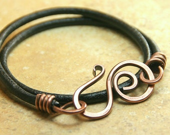 Hammered Copper Swirly Clasp and Leather Wrap Bracelet - Boho Copper Jewelry