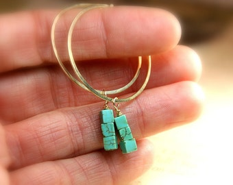 Hammered NuGold Hoops with Turquoise Stacked Dangles Copper Jewelry