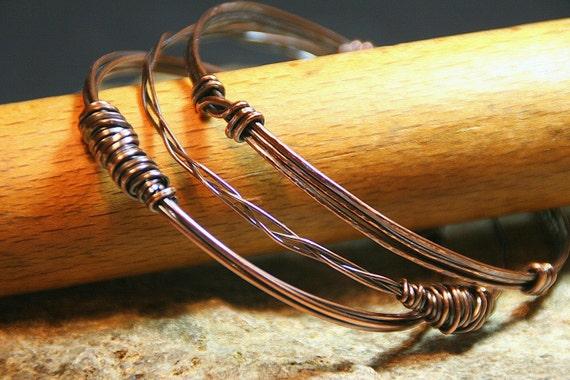 Boho Hammered Copper Bangles - Set of Three - One of a Kind