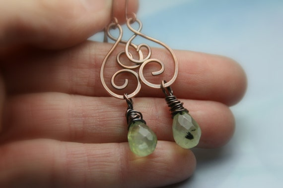Spring Green Prehnite Briolettes with Hammered Copper Earrings