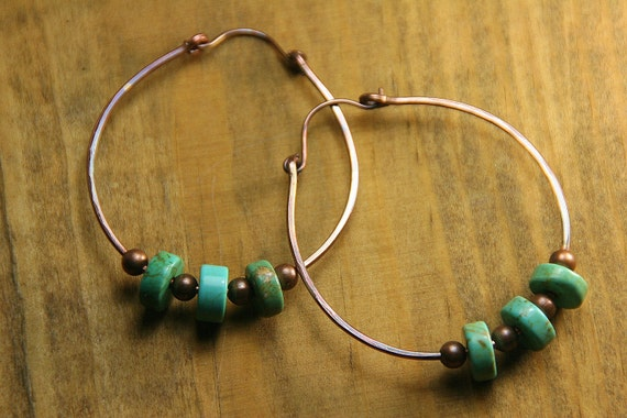 Large Hammered Copper Hoops with Turquoise Heshi Beads
