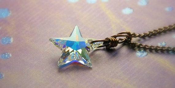 Rainbow Finished Swarovski Cyrstal Star Wire Wrapped in Copper - Necklace