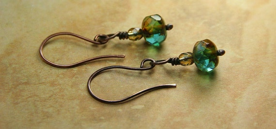 Caramel Skies Czech Glass Beaded Copper Earrings