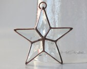 Beveled Glass Star Ornament Stained Glass Star Ornament Decoration Copper Patina