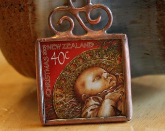 Baby Jesus Stamp Ornament Postage Stamp Christmas Decoration Stained Glass