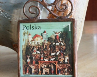 Polish Postage Stamp Christmas Ornament Stained Glass Christmas Decoration Nativity