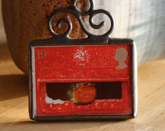 Christmas Ornament  British Postage Stamp Ornament Stained Glass Christmas Decoration Little Red Bird