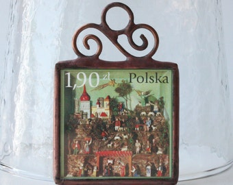 Christmas Ornament Polish Nativity Postage Stamp Stained Glass Nativity Diorama by Ogdenarthaus