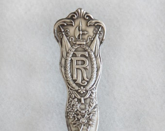 Spoon Key Chain Silverware Keychain Spoon Key Ring Vintage Silver Plate Silverware France Monogram