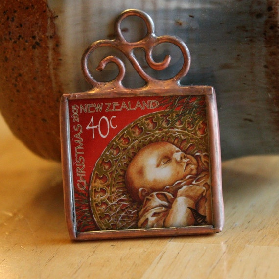Baby jesus stamp ornament postage stamp christmas decoration for Baby jesus christmas decoration
