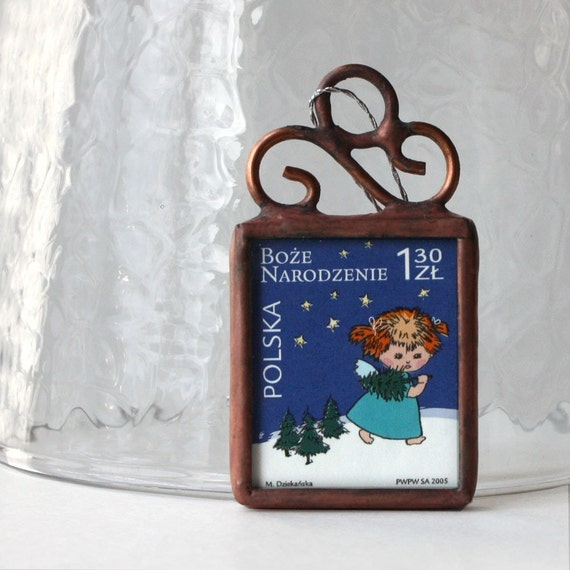Polish Postage Stamp Ornament Featuring Little Girl Angel in Blue by Ogdenarthaus