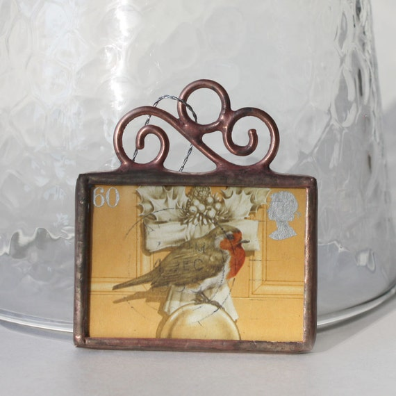 Cancelled Postage Stamp Ornament Stained Glass Decoration Little Bird on Yellow Door Christmas Ornament