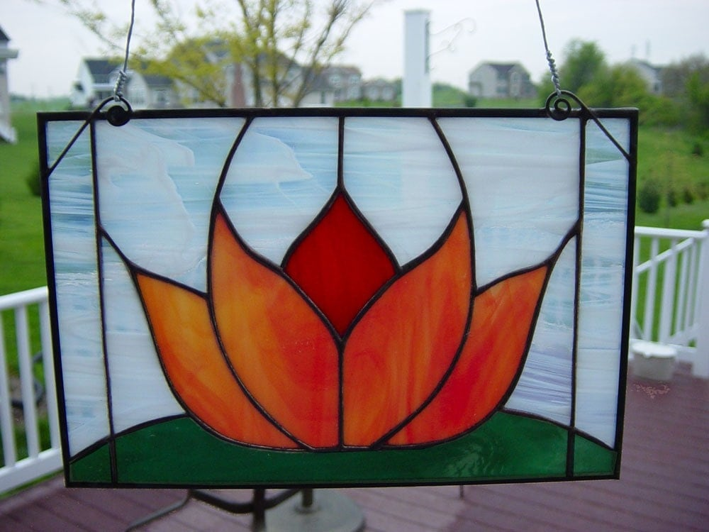Original Design Small Stained Glass Panel Lotus Flower By