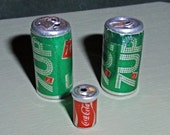 Lot of 3 Mini Soda Cans - Coke and 7-UP