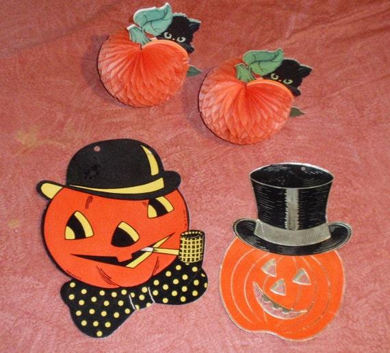 HALF PRICE SALE Vintage Halloween Pumpkin and Black Cat