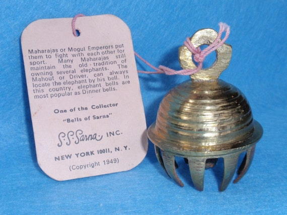 Brass - Bells of Sarna - India Elephant Bell with Story Tag