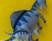 Digital file pdf download Knitting Pattern Only- Spencer Spinosaurus and Baby dinosaur pdf download knitting pattern