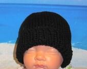 Instant Digital File pdf download knitting pattern - Baby Black Beanie pdf knitting pattern from madmonkeyknits