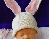Instant Digital File PDF Download Baby Big Ears Bunny Beanie pdf knitting pattern - madmonkeyknits