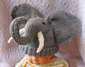 digital pdf file knitting pattern -madmonkeyknits Baby Big Ears Elephant Beanie Hat pdf download knitting pattern
