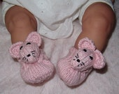 Instant Digital File pdf download knitting pattern- madmonkeyknits Baby Sugar Mouse Shoes pdf knitting pattern