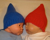 Instant Digital File PDF download knitting pattern-madmonkeyknits Preemie and Tiny baby Gnome Hats pdf download knitting pattern