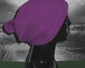 Instant Digital File PDF Download Knitting Pattern-Rib Cuff Moss Stitch Bobble Slouch Hat knitting pattern by madmonkeyknits