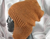 Instant Digital File pdf download knitting pattern  - Simple Trapper Slouch hat pdf download knitting pattern