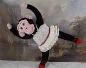 Digital pdf file knitting pattern-Prima Primate Ballerina toy monkey animal knitting pattern pdf download by madmonkeyknits