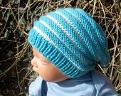 Digital pdf download knitting patten -Baby Stripe Slouch  Hat pdf knitting pattern