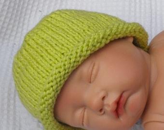 Baby Roll Brim Beanie Hat pdf knitting pattern - MADMONKEYKNITS- digital file download
