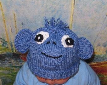 Instant Digital File pdf download baby blue monkey animal hat pdf knitting pattern