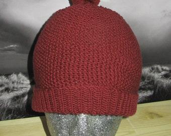 Instant Digital PDF File Knitting Pattern- Moss Stitch Bobble Beanie Hat knitting pattern by madmonkeyknits