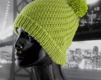 Knitting Pattern digital pdf download - Swirl Bobble Beanie hat knitting pattern pdf download