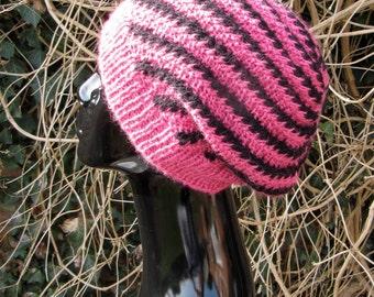 Instant Digital File pdf download Knitting Pattern -  Stripey Swirl Slouch Hat pdf download knitting pattern