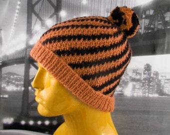 Instant Digital File PDF Download Knitting Pattern -  Stripey Swirl Beanie Hat pdf download knitting pattern