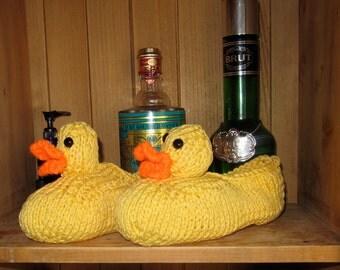 Instant Digital File pdf download knitting pattern- Rubber Duck Bathroom Slippers