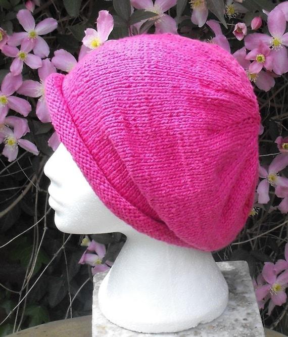 Knitting Pattern digital pdf download - Silky Roll Brim Slouch Beanie Hat pdf download knitting pattern