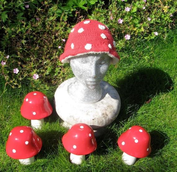Instant Digital File PDF Download Magic Mushroom Beanie - Flyagaric Toadstool Hat pdf download knitting pattern.
