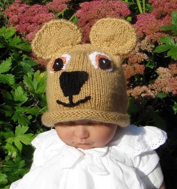 knitting pattern only digital pdf download- Baby Teddy Bear Beanie Hat knitting pattern pdf download