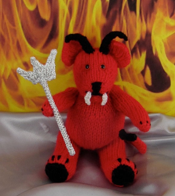 Instant digital file pdf download Knitting pattern-Red Devil Teddy Bear Toy knitting pattern pdf download by madmonkeyknits