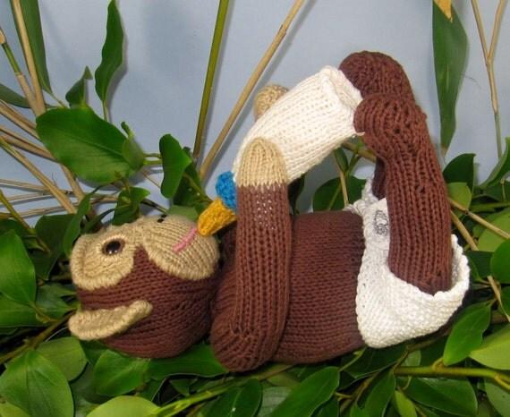 Instant Digital File PDF Download knitting pattern -Charlie Baby Chimpanzee toy animal knitting pattern pdf download