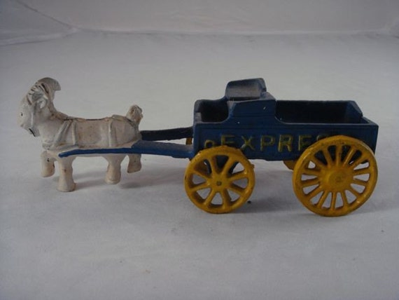 Antique Cast Iron Toy Goat Drawn Express Buck Board Wagon
