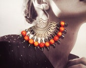 Orange and Black Diamond Fan Earrings