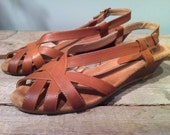 ON SALE Vintage Joyce Light Brown Leather Wedge Sandal With Buckle Womens Size 7