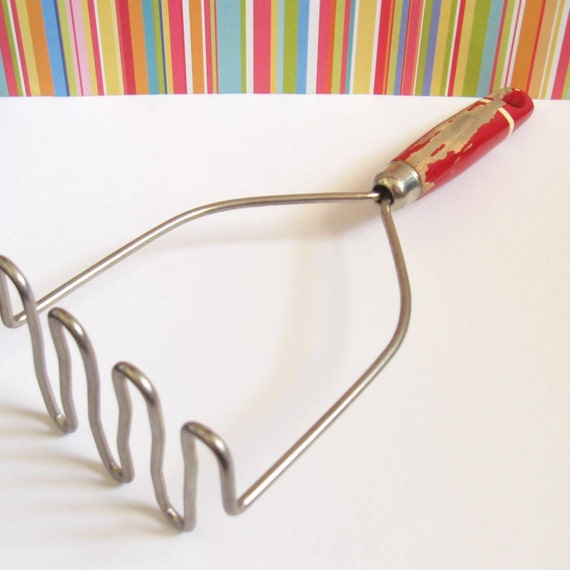 Vintage Potato Masher with Red Wooden Handle