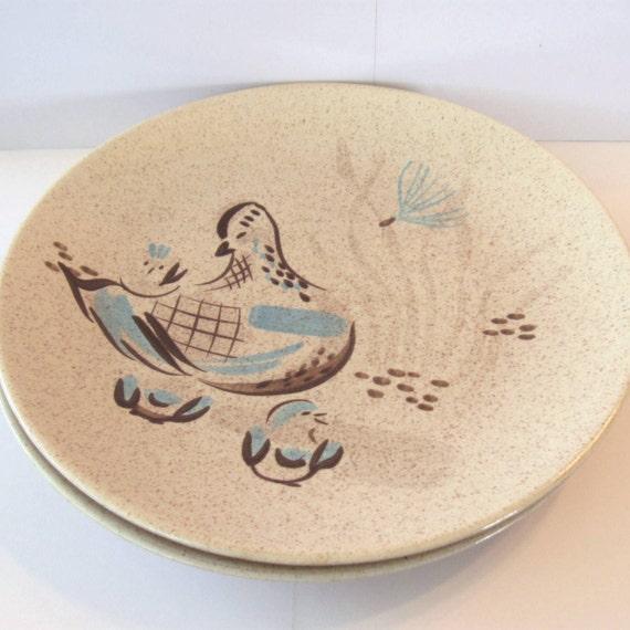 Bob White Dinner Plates - Red Wing Pottery Co - Quail Bird Design - Set of 2
